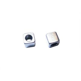 Silver colored metal square bead