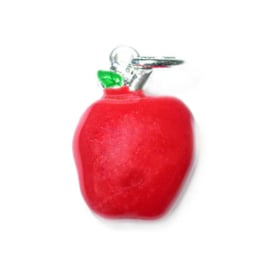 Apple charm made of metal with red
