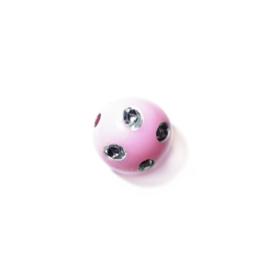 Roze ronde kunststofkraal met metaalkleurige inkepingen