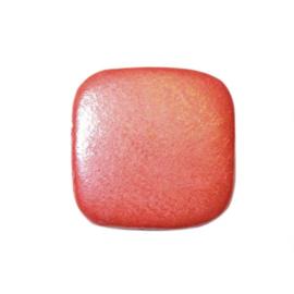 Oranje platte houten kraal, hangend
