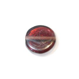 Paarsbruine, discusvormige glaskraal met olieglans