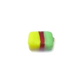 Geel met groen en rode glaskraal