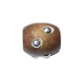 Houten kraal, Bruin met zilverkleurige uitsteeksels