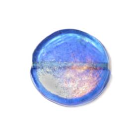 Ronde platte donkerblauwe glaskraal