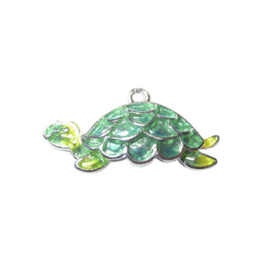 Turtle Charm made of metal with green