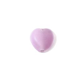 Matte roze hartvormige glaskraal
