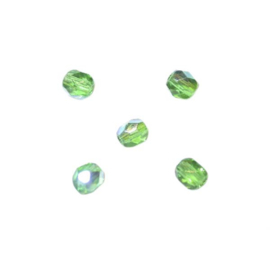 Smaragd, glazen facetkraal 4 mm