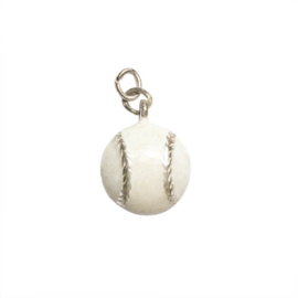 Baseball charm made of metal with white
