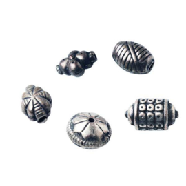 Indiase metalen kralen, 5 stuks