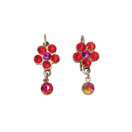 Earrings with red stones in flower form