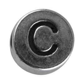 "Silver colored metal letter bead ""C"" from Rayher"
