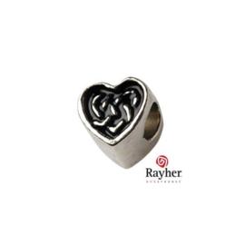Zilverkleurige metalen ornament hart