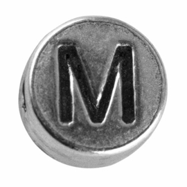 "Silver colored metal letter bead ""M"" from Rayher"