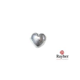 Zilveren hart kraal 7x7mm