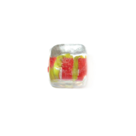 Square, transparent glassbead with red and yellow inside