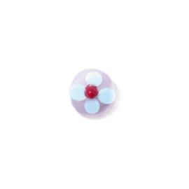 Roze platte glaskraal met witte, blauwe en rood