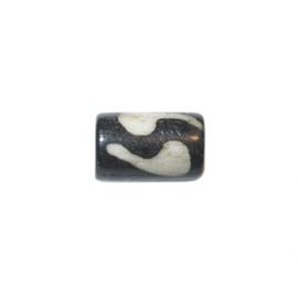 Donkerbruin/zwarte/witte kraal van been met motief