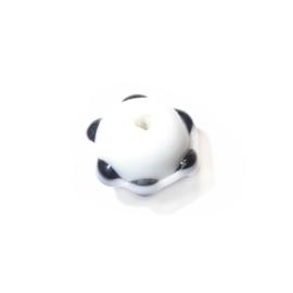 Witte glaskraal met kraagje