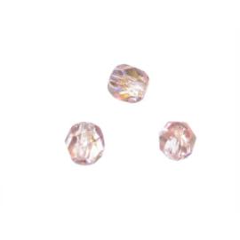 Rozenkwarts glazen facetkraal 6 mm