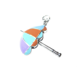 Umbrella charm made of metal with purple, green, orange and blue