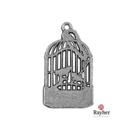 Silver colored metal deco hanger Birdcage