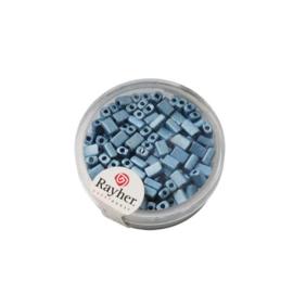 Azuurblauwe metallic rechthoekige rocailles van Rayher