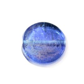 Platte donkerblauwe glaskraal