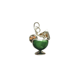 Cocktail Charm made of metal with green and orange