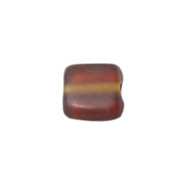 Matte bruine, vierkanten glaskraal
