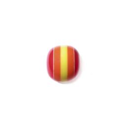 Rode kunstof kraal met geel en oranje
