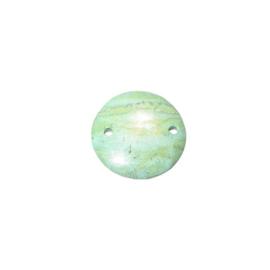 Groene natuurstenen platte schijf met twee draadgaten