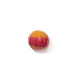 Oranje, ronde, ribbelige glaskraal met rode streep