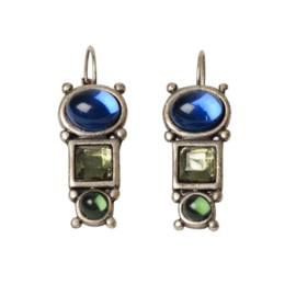 Earrings with blue and green stones