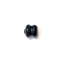Zwarte, diaboolvormige glaskraal