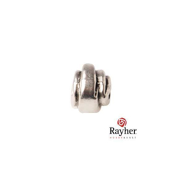 Silver colored metal bead with stripe reliëf