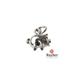 Silver colored metal pendant little Pig
