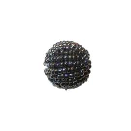 Kleine zwarte lustré Rocaille bol van glaskraaltjes
