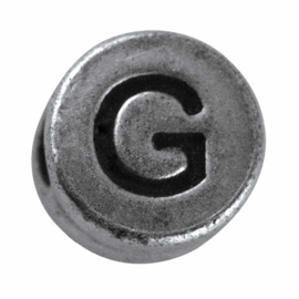 "Silver colored metal letter bead ""G"" from Rayher"