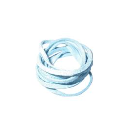 Lichtblauwe kunst suede veter 3mm