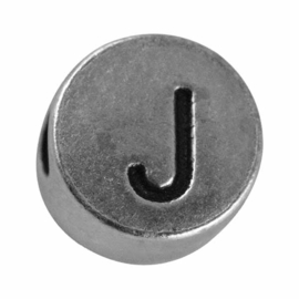 "Silver colored metal letter bead ""J"" from Rayher"
