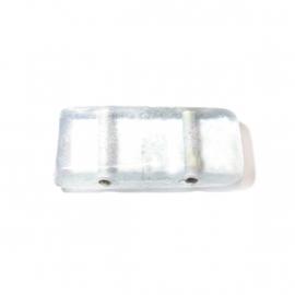 Doorzichtige langwerpige glaskraal met 2 draaduitgangen