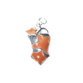 Bathing suit charm made of metal with orange stars