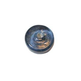 Donkergrijze, platte glaskraal, discusvorm