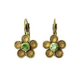 Flower-shaped Earrings with green rhinestones