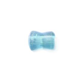 Lichtblauwe diaboolvormige glaskraal luster
