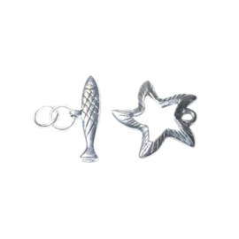 Silver colored Loop & bar clasp Fish and Starfish