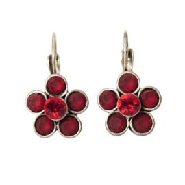 Flower-shaped Earrings with red rhinestones.