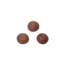 Bruine, matte schijfvormige glaskraal