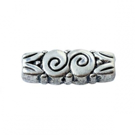Oblong metalcoloured bead, decorated
