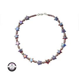 Necklace with red and blue glass beads in star form